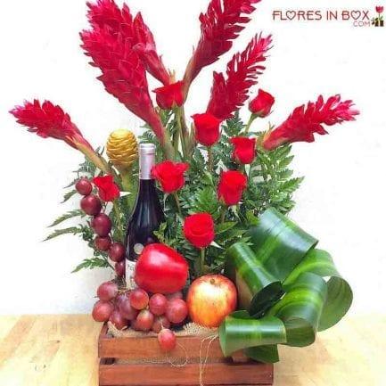 Arreglos florales, Frutas y vino